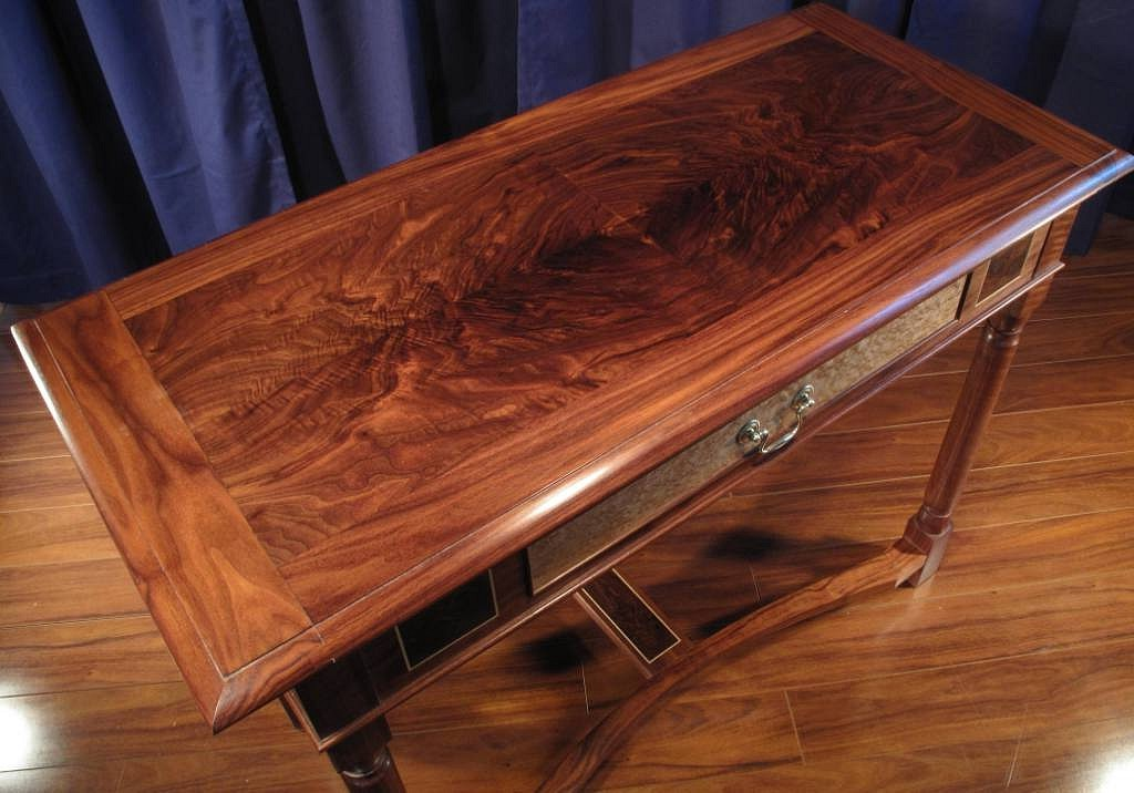 Hall Table Dimensions 40 X 19 30 High Walnut The Top Is Veneered With Book Matched Quarters Of Sawn Drawer