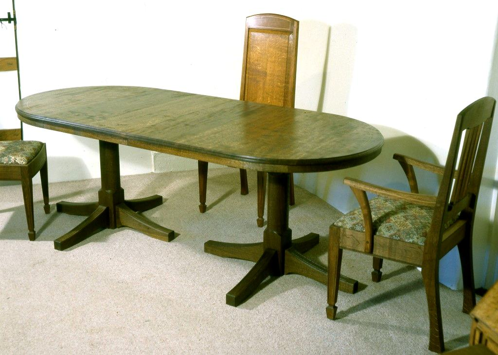 Fumed English Oak Dining Table 80 X 36 Sycamore Inlay In Top